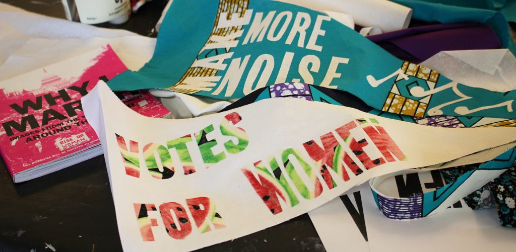 Somerset Art Works is one of 100 commissioned organisations working with women artists in the lead-up to PROCESSIONS, a mass participation artwork to mark 100 years since the first women in the UK won the vote. somersetprocessions.wordpress.com Photo: Davina Jelley